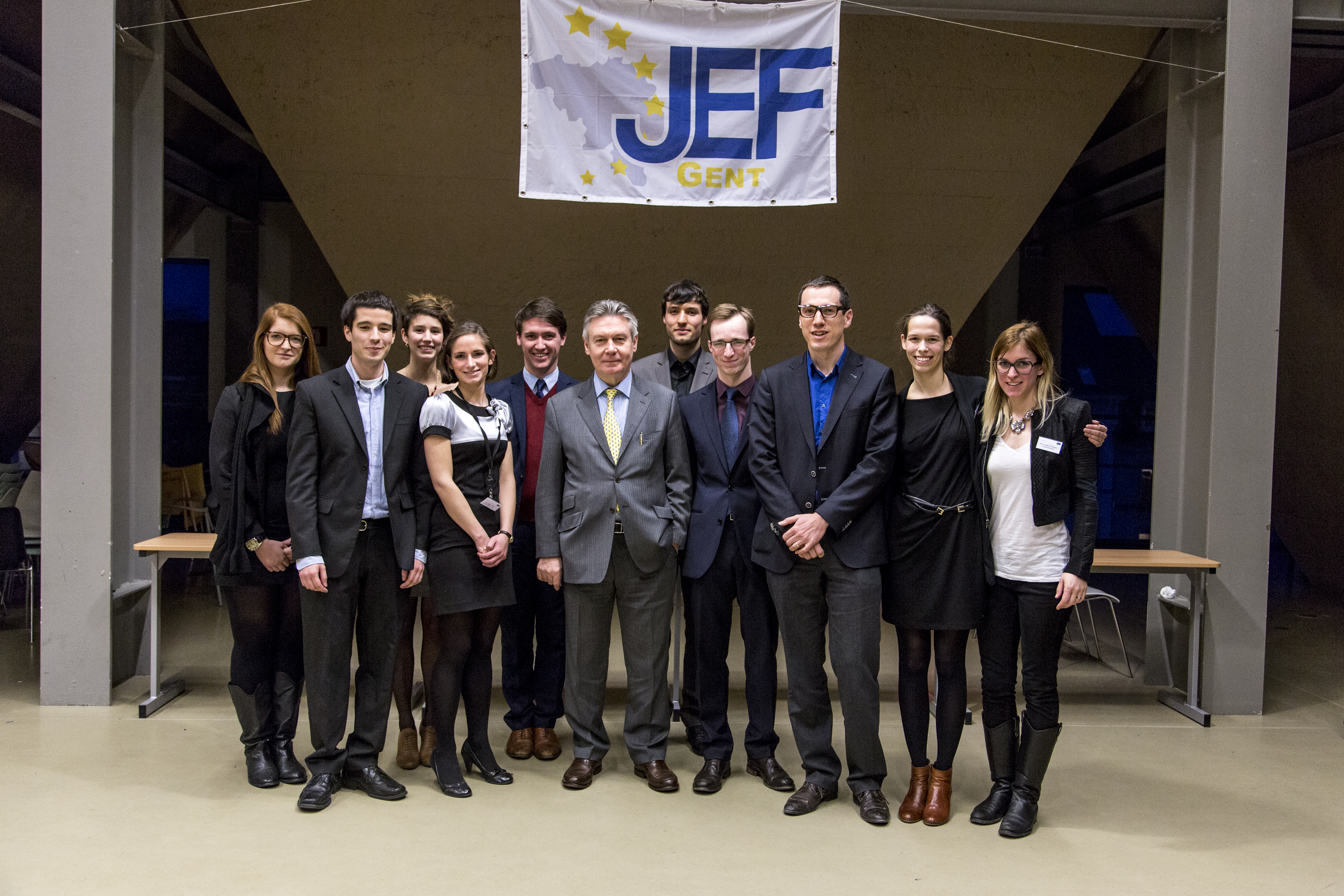 JEF Ghent board with guest speakers Karel De Gucht (center) and Pieter Verhelst (3rd from right)